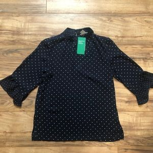 H&M Polka-dotted Navy Blue Blouse